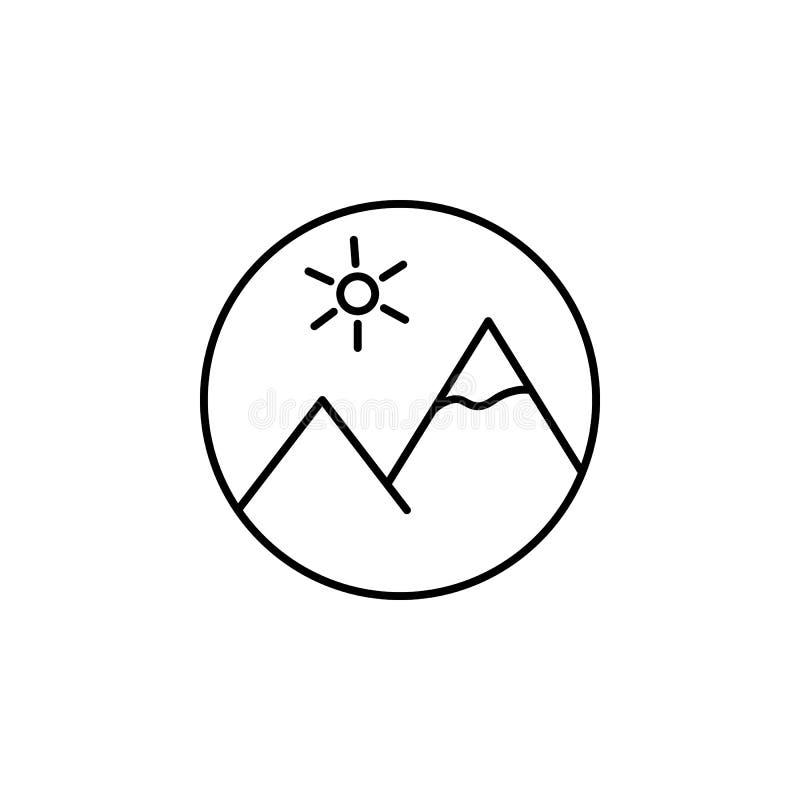 Εικονίδιο περιλήψεων βουνών μέσων εικόνας Τα σημάδια και τα σύμβολα μπορούν να χρησιμοποιηθούν για τον Ιστό, λογότυπο, κινητό app απεικόνιση αποθεμάτων