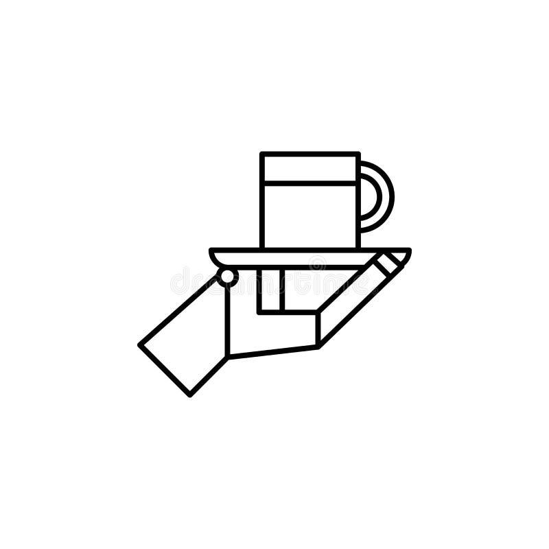 Εικονίδιο περιλήψεων φλυτζανιών σερβιτόρων ρομπότ ρομποτικής Τα σημάδια και τα σύμβολα μπορούν να χρησιμοποιηθούν για τον Ιστό, λ απεικόνιση αποθεμάτων