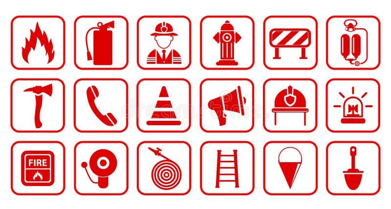 Εικονίδιο πυροσβεστήρων Επίπεδη πυρασφάλεια - για το απόθεμα ελεύθερη απεικόνιση δικαιώματος