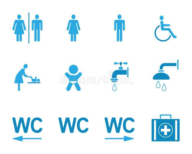 Εικονογράμματα WC & τουαλετών - Iconset ελεύθερη απεικόνιση δικαιώματος