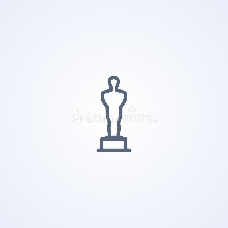 Ειδώλιο του Oscar, διανυσματικό καλύτερο γκρίζο εικονίδιο γραμμών διανυσματική απεικόνιση