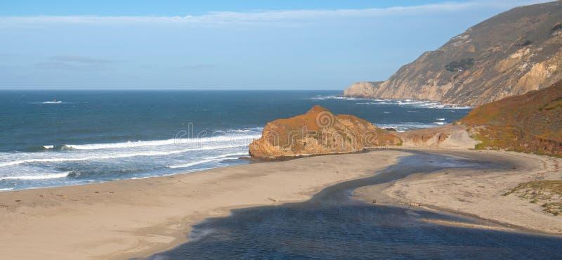 Εκβολές του μικρού ποταμού Sur όπου συναντούν το Ειρηνικό Ωκεανό στο σημείο Sur στην κεντρική ακτή Καλιφόρνιας - ΗΠΑ στοκ εικόνες με δικαίωμα ελεύθερης χρήσης