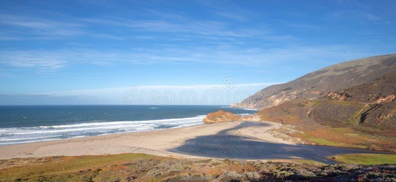 Εκβολές του μικρού ποταμού Sur όπου συναντούν το Ειρηνικό Ωκεανό στο σημείο Sur στην κεντρική ακτή Καλιφόρνιας - ΗΠΑ στοκ εικόνες