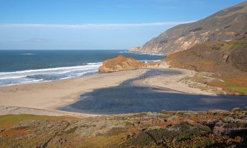 Εκβολές του μικρού ποταμού Sur όπου συναντούν το Ειρηνικό Ωκεανό στο σημείο Sur στην κεντρική ακτή Καλιφόρνιας - ΗΠΑ στοκ φωτογραφία