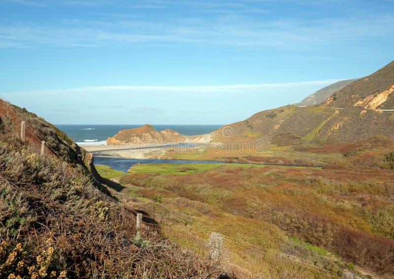 Εκβολές του μικρού ποταμού Sur όπου συναντούν το Ειρηνικό Ωκεανό στο σημείο Sur στην κεντρική ακτή Καλιφόρνιας - ΗΠΑ στοκ φωτογραφίες