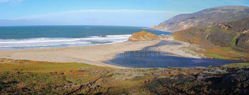 Εκβολές του μικρού ποταμού Sur όπου συναντούν το Ειρηνικό Ωκεανό στο σημείο Sur στην κεντρική ακτή Καλιφόρνιας - ΗΠΑ στοκ φωτογραφία με δικαίωμα ελεύθερης χρήσης