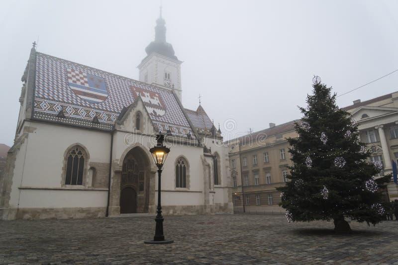 Εκκλησία του σημαδιού του ST στην ανώτερη πόλη, Ζάγκρεμπ, Κροατία στοκ εικόνα με δικαίωμα ελεύθερης χρήσης