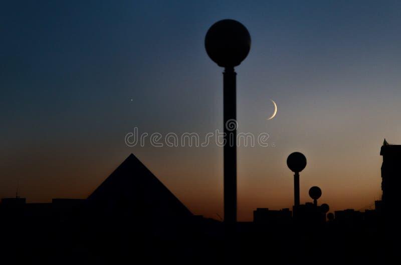 Εκλείψας φανάρια και φεγγάρι στοκ φωτογραφίες
