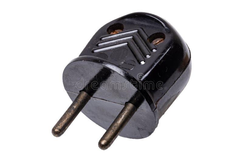 Εκλεκτής ποιότητας ηλεκτρικό βούλωμα Κινηματογράφηση σε πρώτο πλάνο του παλαιού σκουριασμένου ηλεκτρικού μαύρου βουλώματος δύναμη στοκ εικόνες με δικαίωμα ελεύθερης χρήσης