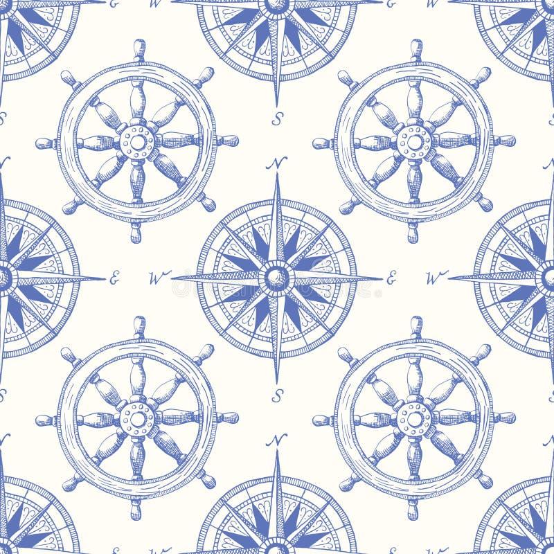 Εκλεκτής ποιότητας ναυτικό Hand-Drawn τιμόνι σκαφών και διανυσματικό άνευ ραφής σχέδιο πυξίδων θάλασσας Μπλε θαλάσσιο υπόβαθρο απεικόνιση αποθεμάτων