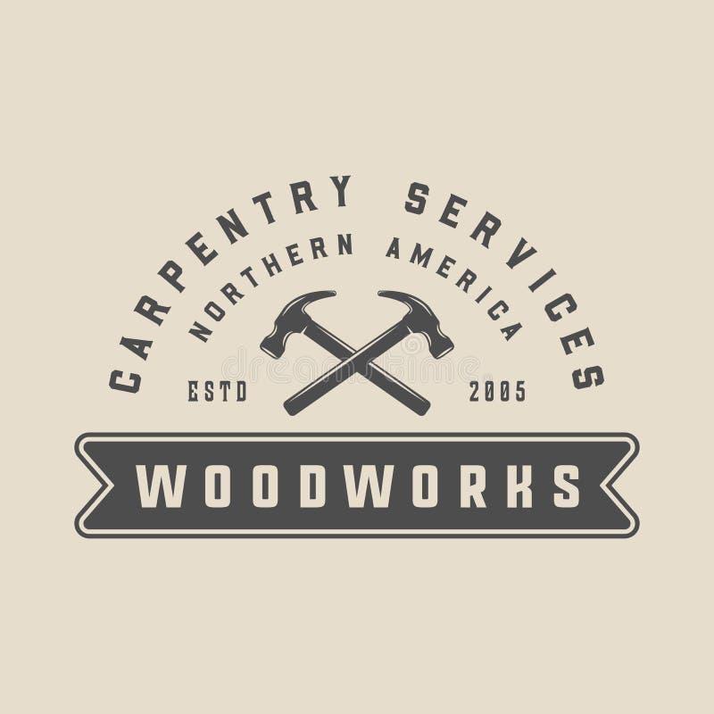 Εκλεκτής ποιότητας ξυλουργική, ξυλουργική και μηχανική ετικέτα, διακριτικό, έμβλημα και λογότυπο επίσης corel σύρετε το διάνυσμα  διανυσματική απεικόνιση