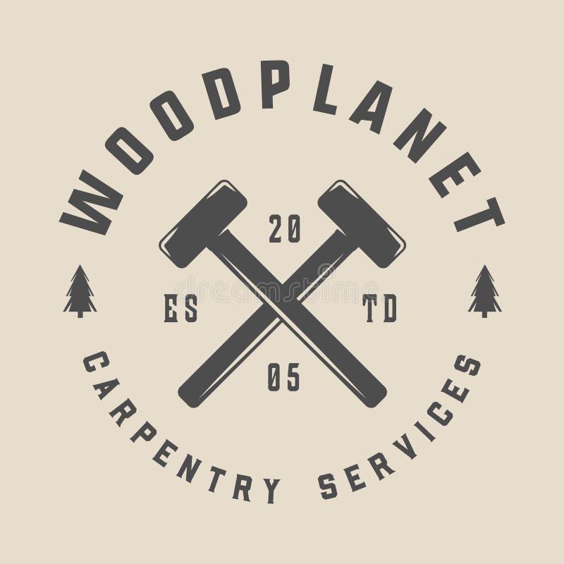 Εκλεκτής ποιότητας ξυλουργική, ξυλουργική και μηχανική ετικέτα, διακριτικό, έμβλημα και λογότυπο επίσης corel σύρετε το διάνυσμα  ελεύθερη απεικόνιση δικαιώματος