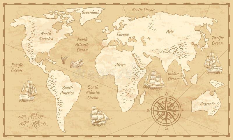 Εκλεκτής ποιότητας παγκόσμιος χάρτης Αρχαίος χάρτης εγγράφου παγκόσμιας αρχαιότητας με ηπείρων το ωκεάνιο υπόβαθρο σφαιρών θάλασσ διανυσματική απεικόνιση