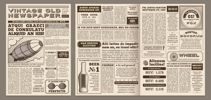 Εκλεκτής ποιότητας πρότυπο εφημερίδων Αναδρομική σελίδα εφημερίδων, παλαιός τίτλος ειδήσεων και διανυσματικό σχεδιάγραμμα απεικόν απεικόνιση αποθεμάτων