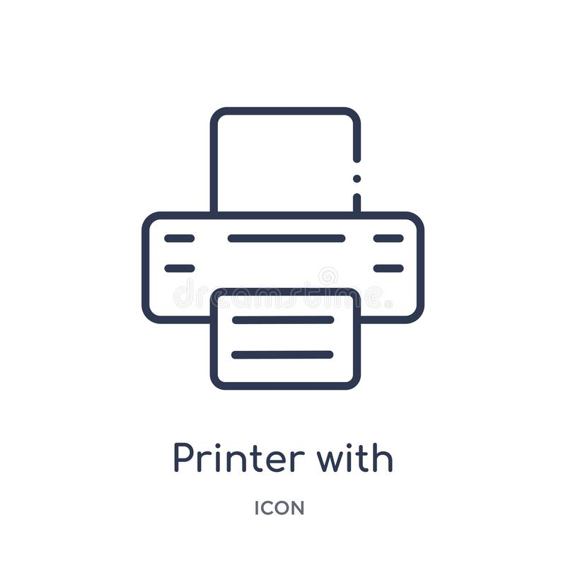 εκτυπωτής με το γραπτό εικονίδιο εγγράφου από τη συλλογή περιλήψεων εργαλείων και εργαλείων Λεπτός εκτυπωτής γραμμών με το γραπτό ελεύθερη απεικόνιση δικαιώματος