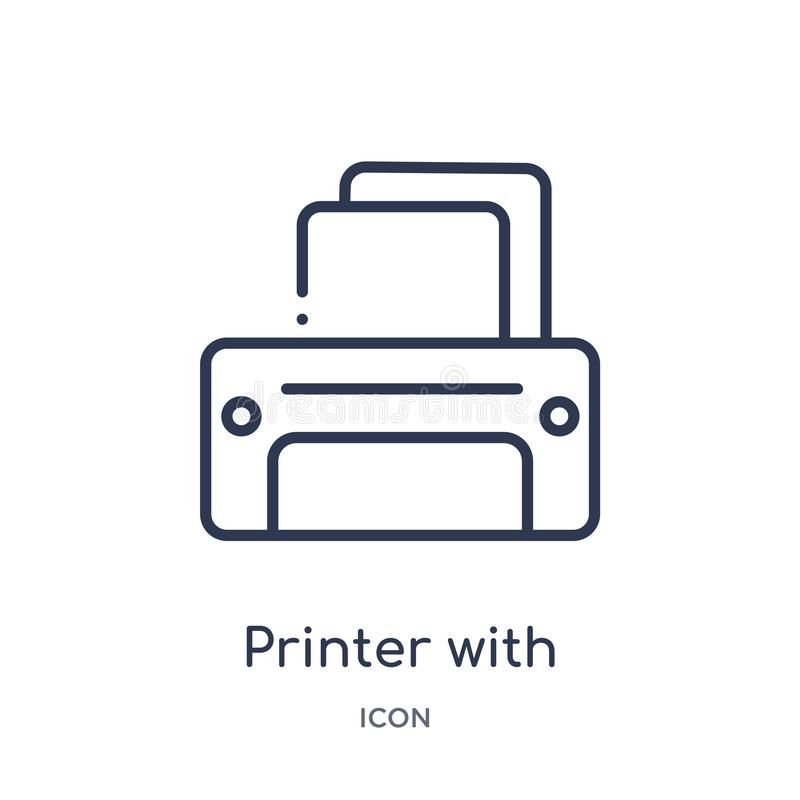 εκτυπωτής με το κενό εικονίδιο φύλλων εγγράφου από τη συλλογή περιλήψεων εργαλείων και εργαλείων Λεπτός εκτυπωτής γραμμών με το κ διανυσματική απεικόνιση