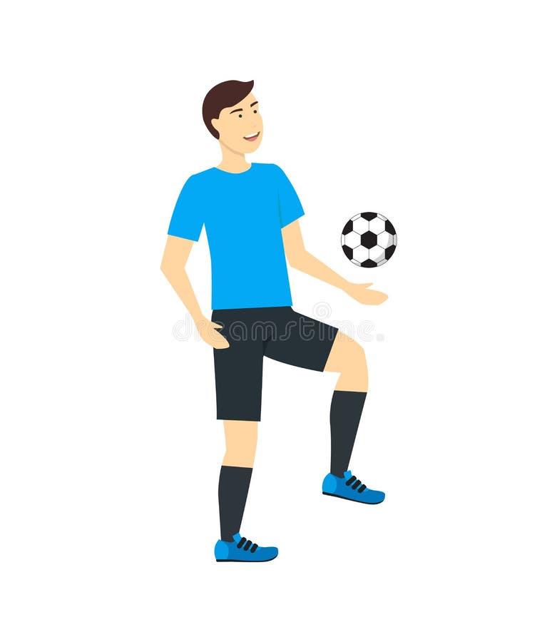 Εκπαιδευτικό ή παίζοντας ποδόσφαιρο ατόμων χαρακτήρα κινουμένων σχεδίων διάνυσμα διανυσματική απεικόνιση