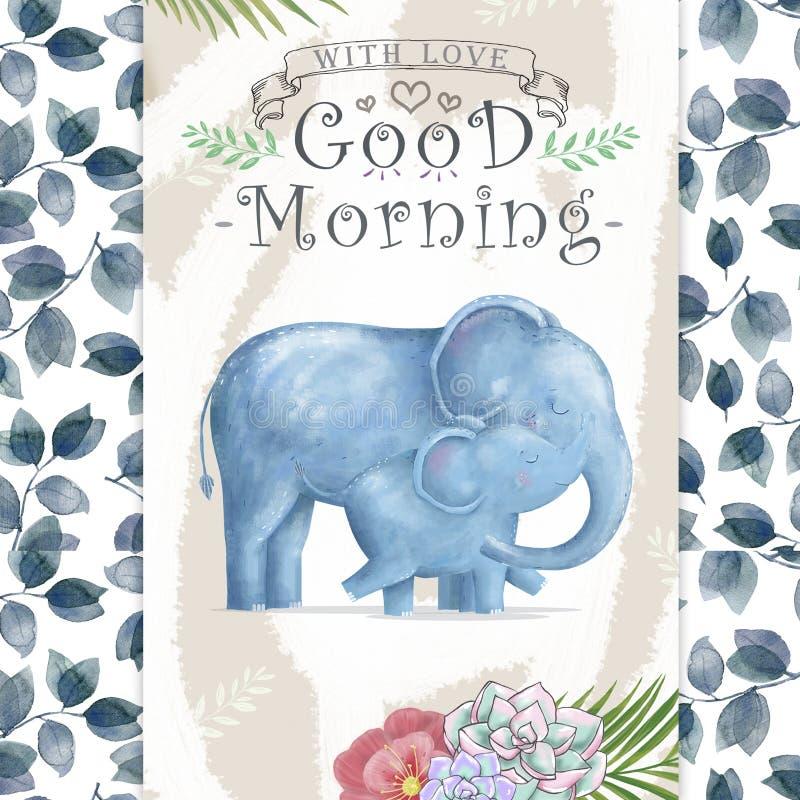 Ελέφαντας και μητέρα μωρών Watercolor Οι χαριτωμένοι ελέφαντες για τη ευχετήρια κάρτα, γενέθλια, προσκαλούν, τέχνη συνδετήρων ζωγ διανυσματική απεικόνιση