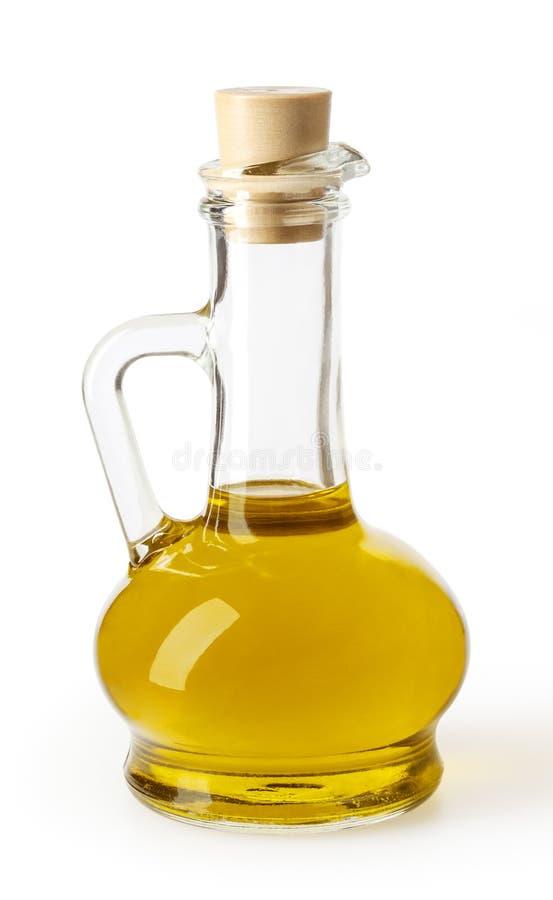 Ελαιόλαδο στο μπουκάλι γυαλιού που απομονώνεται στο άσπρο backgound στοκ φωτογραφία
