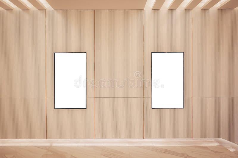 Ελαφριοί κιβώτιο αφισών δύο κινηματογράφων ή κινηματογράφος πλαισίων επίδειξης lightbox ή πίνακες διαφημίσεων με το άσπρο κενό δι στοκ φωτογραφία με δικαίωμα ελεύθερης χρήσης