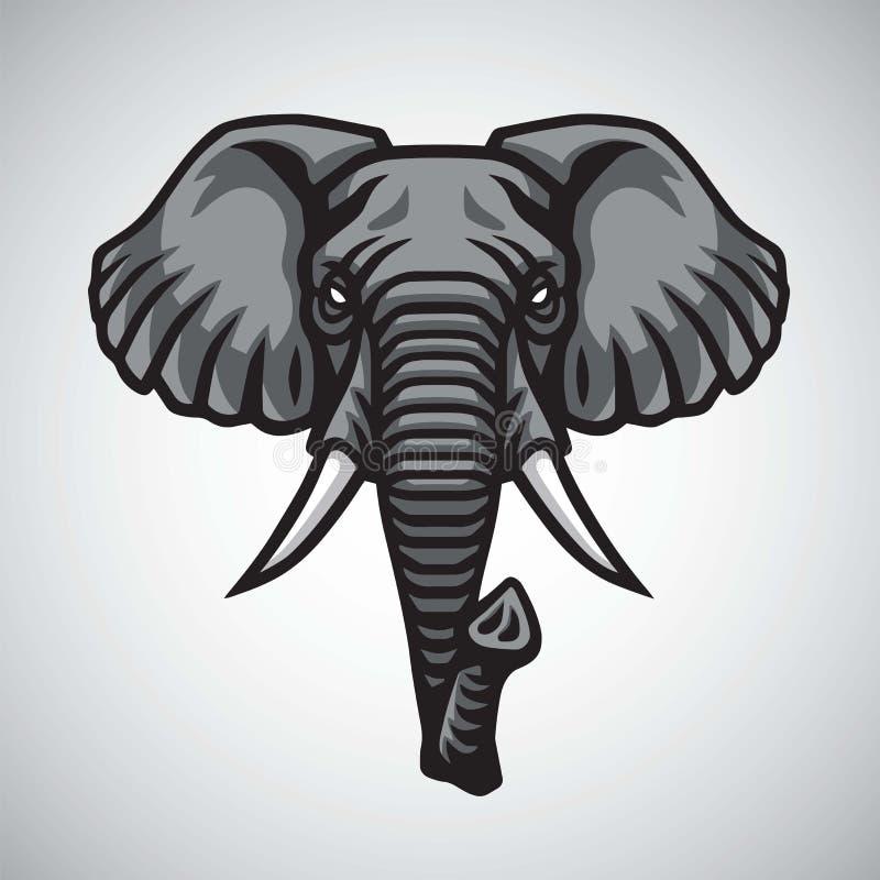 Ελεφάντων επικεφαλής λογότυπων σχέδιο ασφαλίστρου μασκότ διανυσματικό απεικόνιση αποθεμάτων