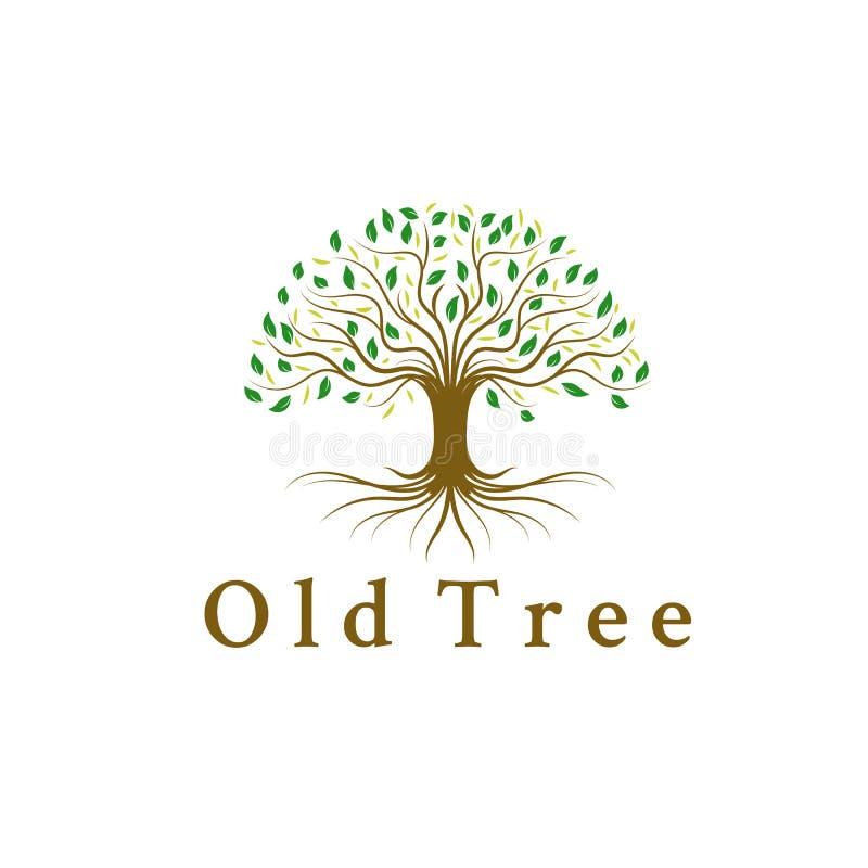 Εμπνεύσεις σχεδίων λογότυπων δέντρων, ρίζα, φύλλο διανυσματική απεικόνιση