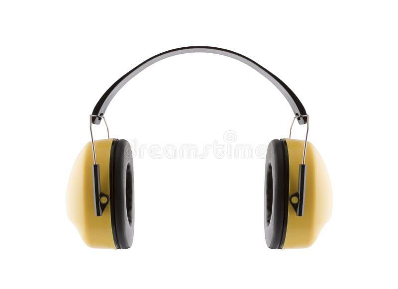 ενάντια στην προστασία θο& Κίτρινα καλύμματα αυτιών μέσων προστασίας ακοής στοκ φωτογραφία με δικαίωμα ελεύθερης χρήσης