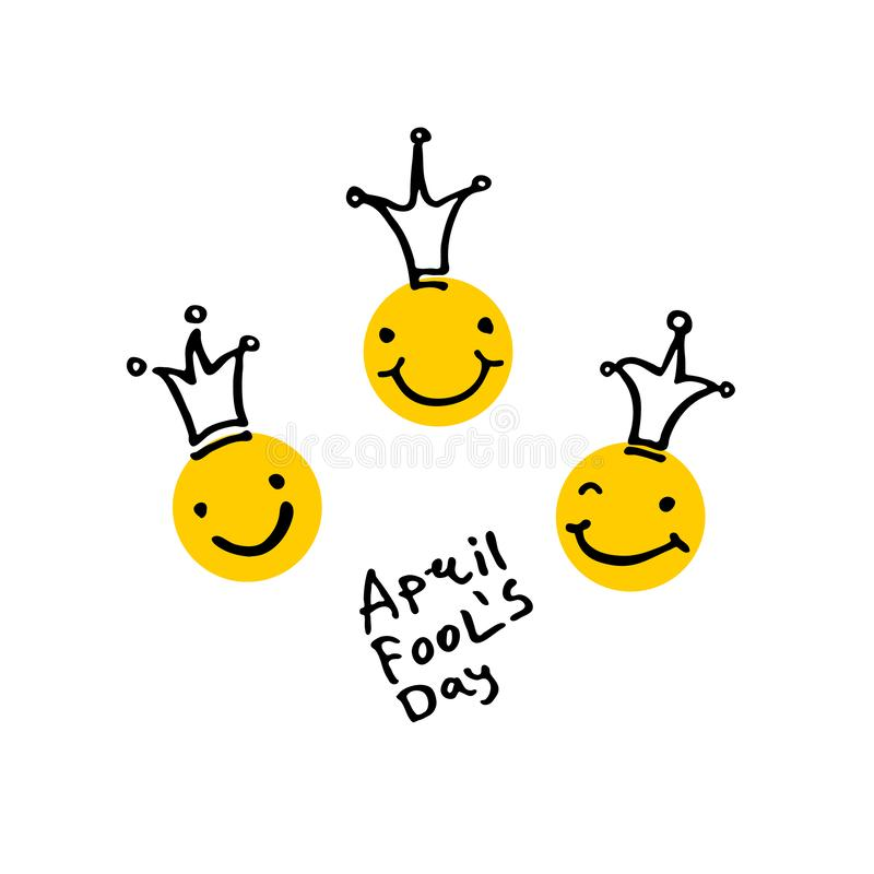 ενάντια στον μπλε ήλιο καπέλων ανόητων ημερολογιακής ημέρας πεταλούδων φυσαλίδων πουλιών Απριλίου λεκτικό 2019 Τρία κεφάλια γέλιο διανυσματική απεικόνιση