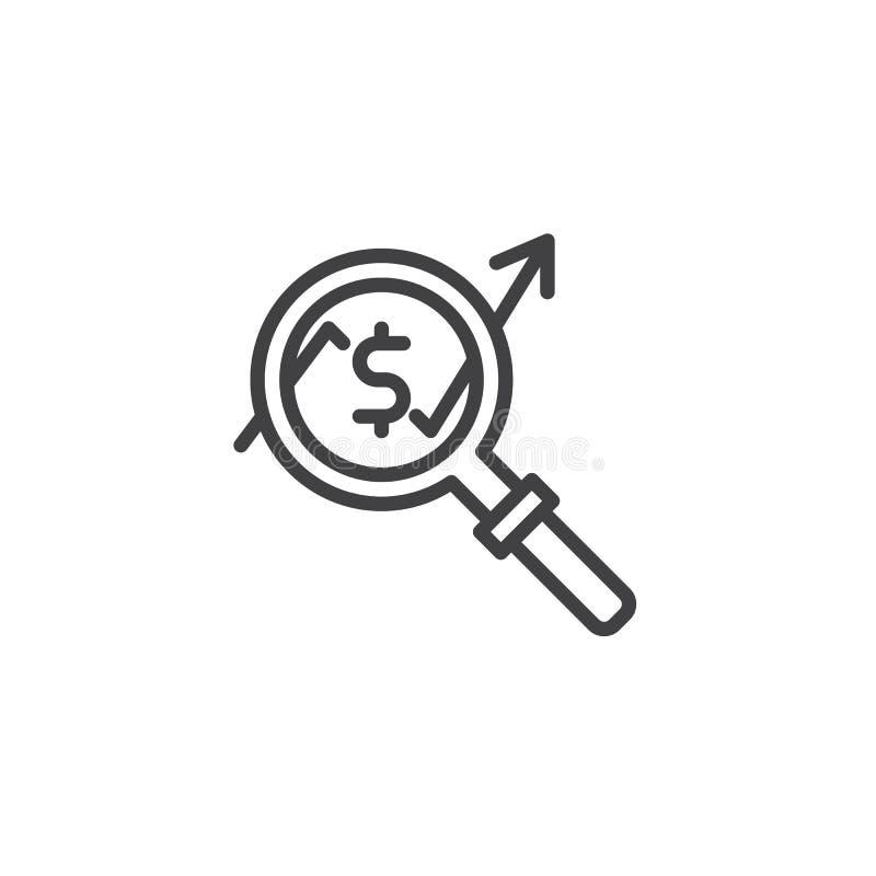 Ενίσχυση - γυαλί με το αυξανόμενο εικονίδιο γραμμών διαγραμμάτων χρημάτων ελεύθερη απεικόνιση δικαιώματος