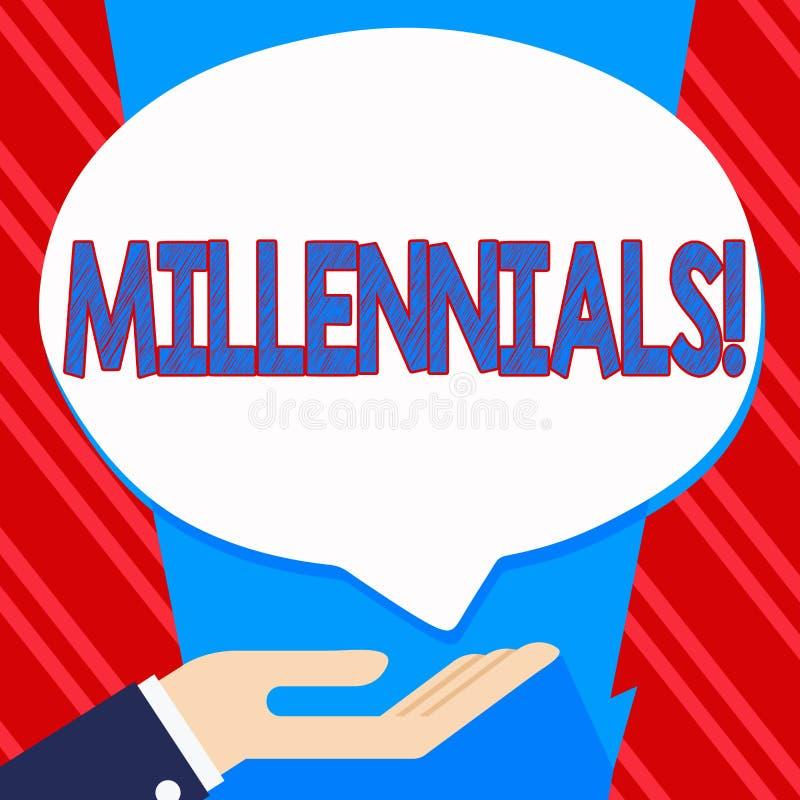 Εννοιολογικό χέρι που γράφει παρουσιάζοντας Millennials Παραγωγή Υ το γεννημένο από το 1980 s κειμένων επιχειρησιακών φωτογραφιών απεικόνιση αποθεμάτων