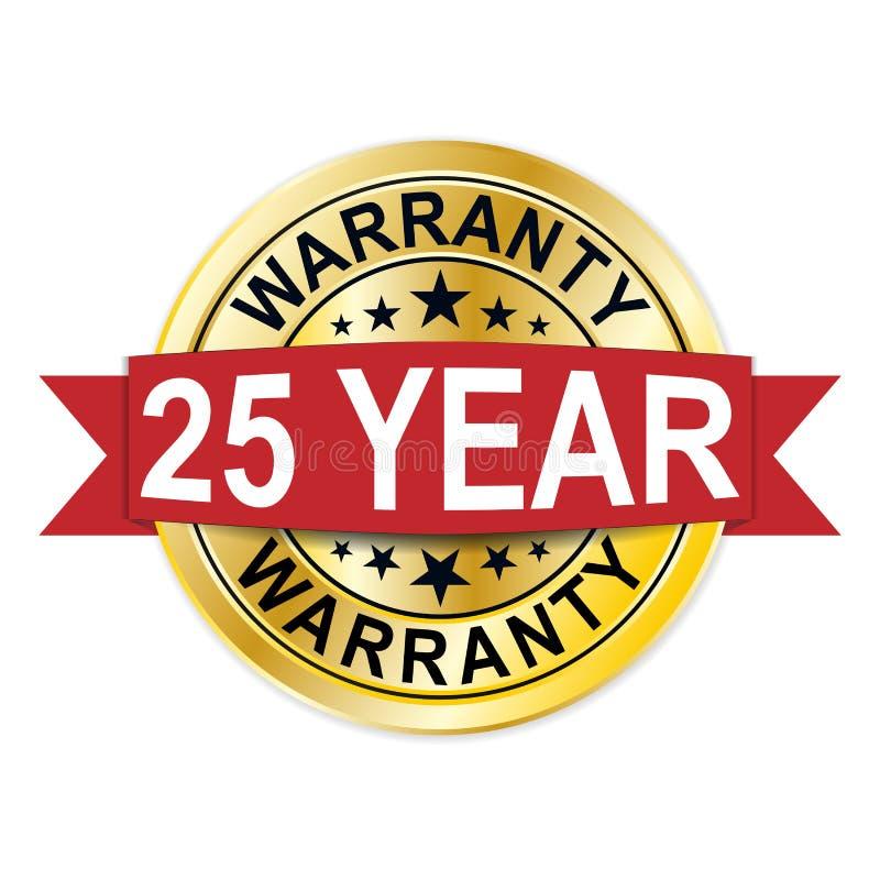 Εξουσιοδότηση χρυσό μετάλλιο σφραγίδων διακριτικών 25 έτους απεικόνιση αποθεμάτων