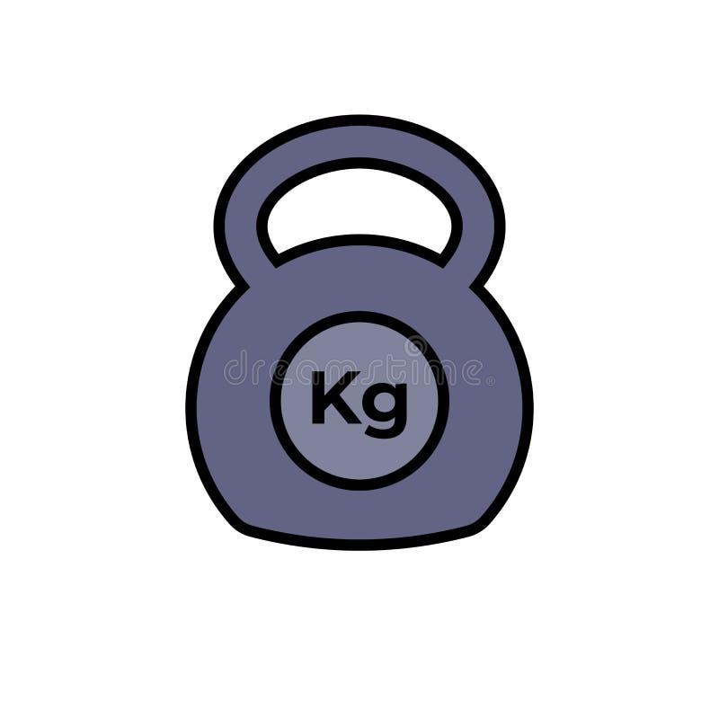 Εξοπλισμός άσκησης ικανότητας εικονιδίων Kettlebell με το σύμβολο μονάδων χιλιογράμμου απλός γραφικός απεικόνιση αποθεμάτων