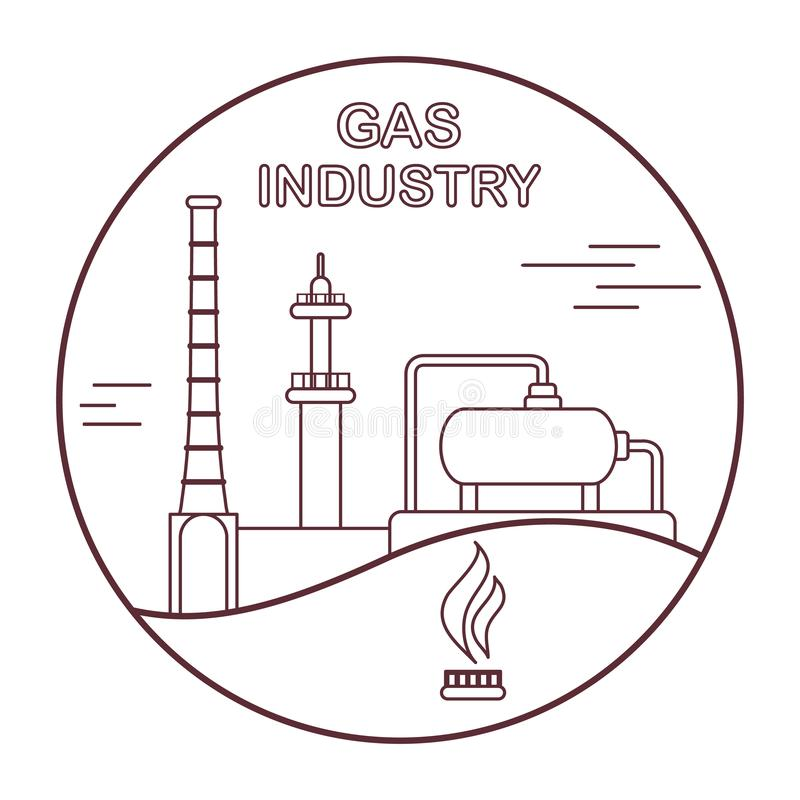Εξοπλισμός βιομηχανίας φυσικού αερίου Εξαγωγή, επεξεργασία διανυσματική απεικόνιση