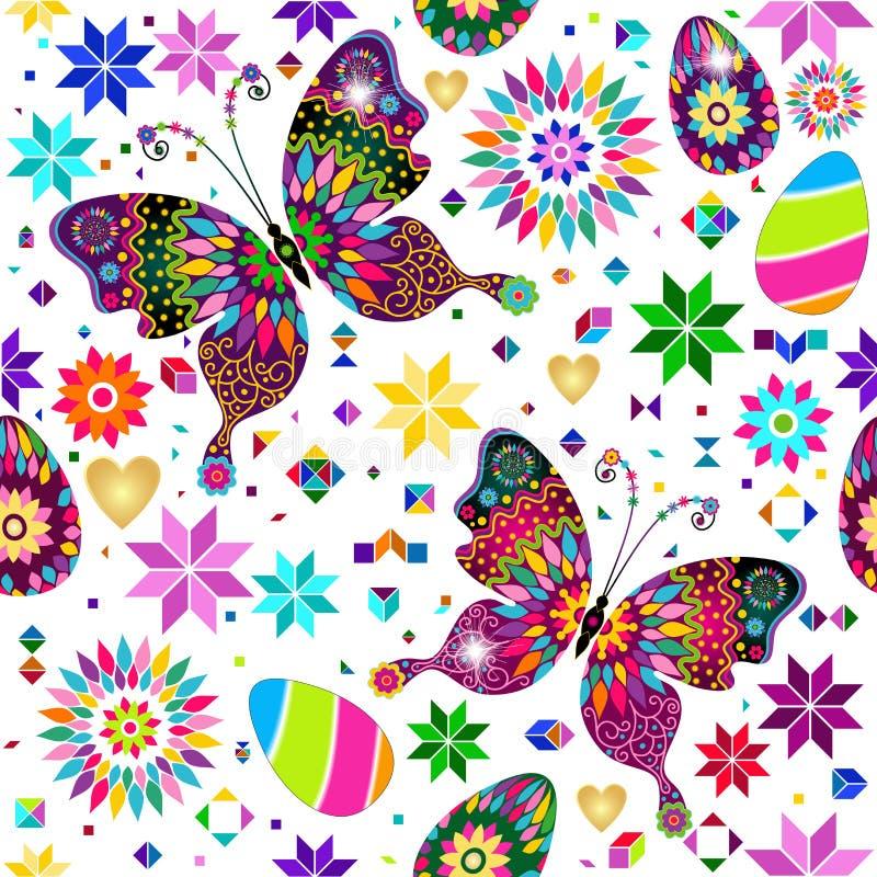 Εορταστικό φωτεινό σχέδιο Πάσχας με τις πεταλούδες, τα λουλούδια και τα διακοσμημένα αυγά ελεύθερη απεικόνιση δικαιώματος