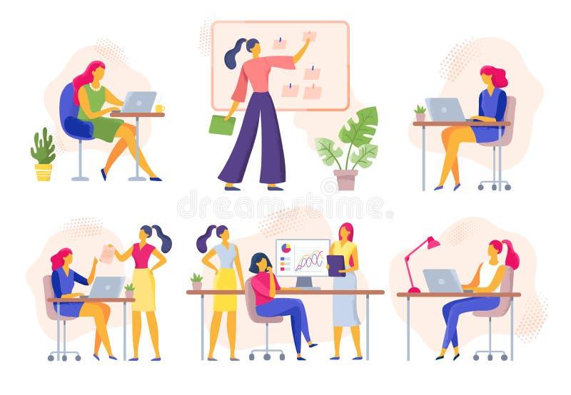 Εργαζόμενοι γραφείων θηλυκών Η επιχειρησιακή γυναίκα πραγματοποιεί τη συνεδρίαση, την εργασία ομάδων γυναικών μαζί και τη επιχειρ ελεύθερη απεικόνιση δικαιώματος