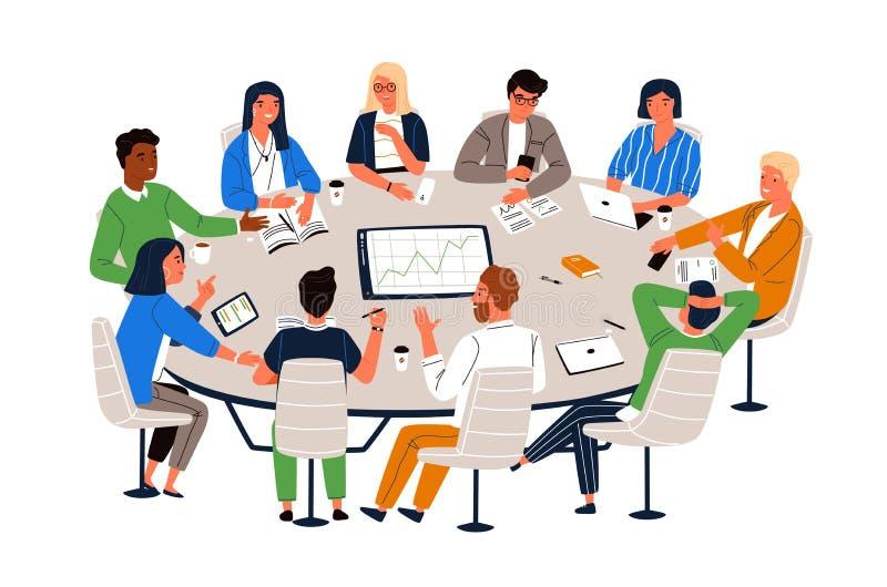 Εργαζόμενοι γραφείων που κάθονται στη διάσκεψη στρογγυλής τραπέζης και που συζητούν τις ιδέες, που ανταλλάσσουν τις πληροφορίες Σ ελεύθερη απεικόνιση δικαιώματος