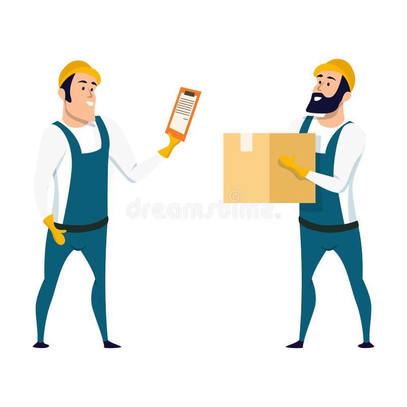 Εργαζόμενος αποθηκών εμπορευμάτων εργοστασίων που ελέγχει το κιβώτιο με τον κατάλογο ελεύθερη απεικόνιση δικαιώματος