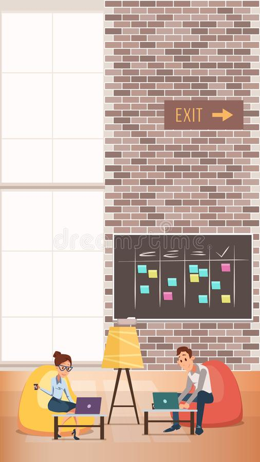 Εργασία επιχειρησιακών ανδρών και γυναικών στο κέντρο Coworking ελεύθερη απεικόνιση δικαιώματος