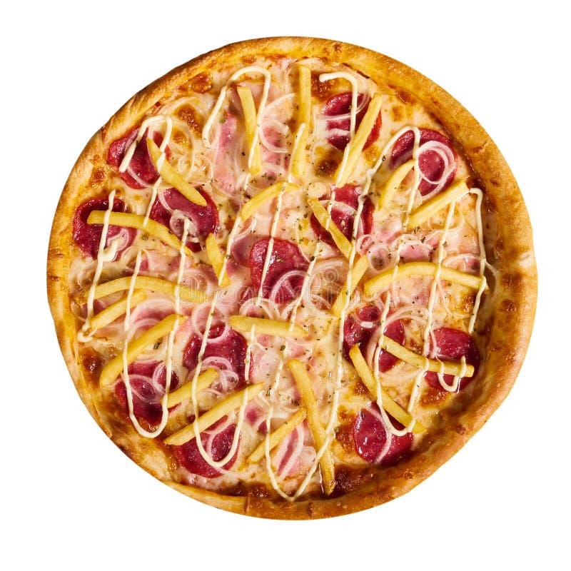 Εύγευστη ιταλική πίτσα με τις τηγανιτές πατάτες στο άσπρο υπόβαθρο, που απομονώνεται στοκ φωτογραφία