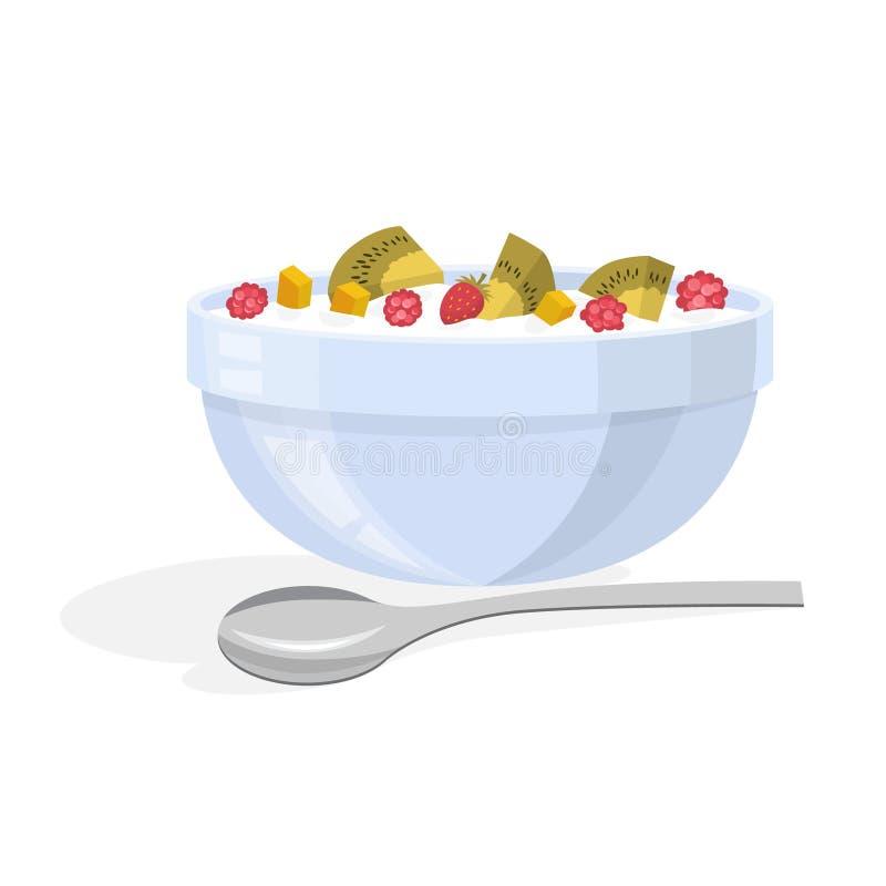 Εύγευστο muesli με το μούρο και φρούτα για το πρόγευμα ελεύθερη απεικόνιση δικαιώματος