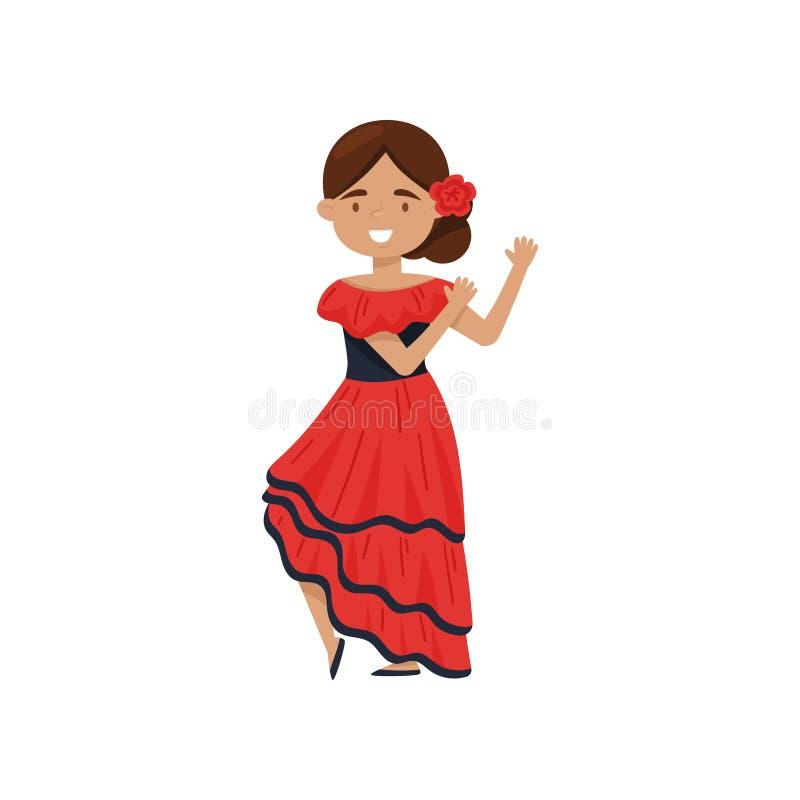 Εύθυμο κορίτσι στο παραδοσιακό ισπανικό φόρεμα Flamenco κοστούμι χορευτών Εθνική εξάρτηση της Ισπανίας Επίπεδο διανυσματικό σχέδι απεικόνιση αποθεμάτων
