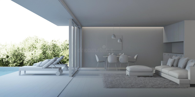 εσωτερικός σύγχρονος σπιτιών Εσωτερικό μιας βίλας με μια πισίνα στοκ φωτογραφίες