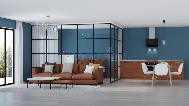 εσωτερικός σύγχρονος σπιτιών Κρεβατοκάμαρα με τα χωρίσματα γυαλιού στοκ εικόνες