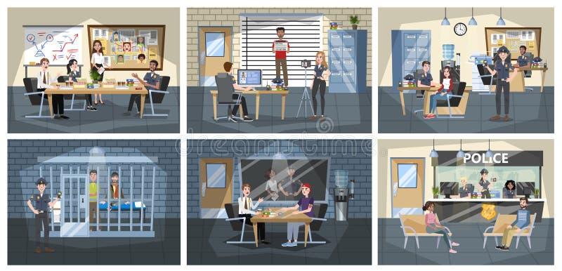 Εσωτερικό οικοδόμησης αστυνομικών τμημάτων Αστυνομικός μέσα διανυσματική απεικόνιση