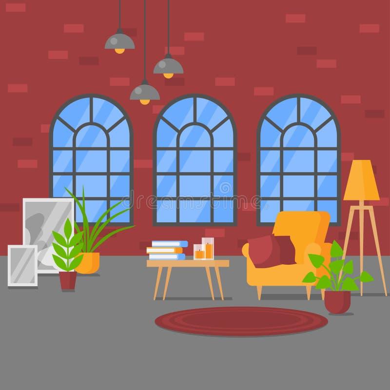 Εσωτερικό διαμερισμάτων ύφους σοφιτών με τα άνετα έπιπλα Σύγχρονο σχέδιο, επίπεδο καθιστικό με τα αναδρομικά παράθυρα και τουβλότ απεικόνιση αποθεμάτων
