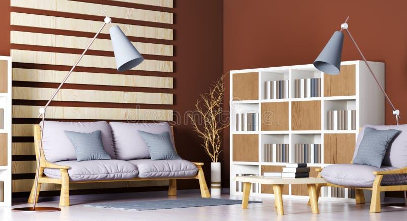 Εσωτερικό σχέδιο του σύγχρονου καθιστικού με τον καναπέ, βιβλιοθήκη, τραπεζάκι σαλονιού, τρισδιάστατη απόδοση ελεύθερη απεικόνιση δικαιώματος