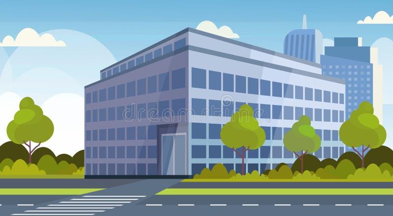 Εταιρικό υπόβαθρο εικονικής παράστασης πόλης άποψης κτιρίου γραφείων εμπορικών κέντρων σύγχρονο οριζόντια οριζόντιο διανυσματική απεικόνιση