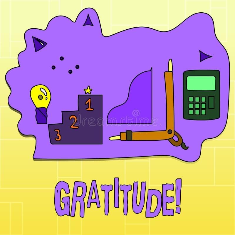 Ευγνωμοσύνη κειμένων γραφής Η έννοια που σημαίνει την ποιότητα της ύπαρξης ευγνώμων ευγνωμοσύνη εκτίμησης αναγνωρίζει απεικόνιση αποθεμάτων