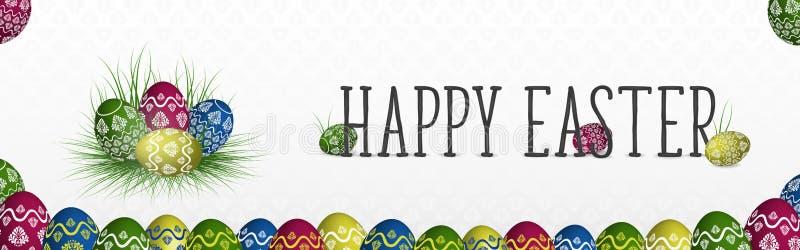 Ευτυχές έμβλημα Πάσχας με τα ζωηρόχρωμα χρωματισμένα αυγά στη χλόη διανυσματική απεικόνιση
