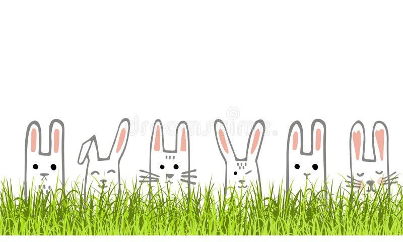 Ευτυχές έμβλημα Πάσχας με τα πρόσωπα και τη χλόη λαγουδάκι Σύνορα ή ευχετήρια κάρτα κουνελιών διάνυσμα ελεύθερη απεικόνιση δικαιώματος
